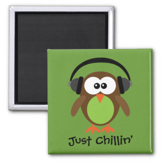 Just Chillin Owl With Headphones Fridge Magnets