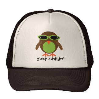Just Chillin' Owl With Shades Trucker Hats