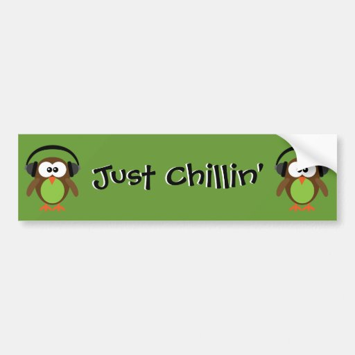 Just Chillin' Owls With Headphones Car Bumper Sticker