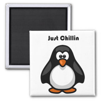 Just Chillin Penguin Hanging Out Cartoon Magnet