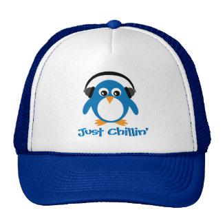 Just Chillin' Penguin With Headphones Trucker Hat