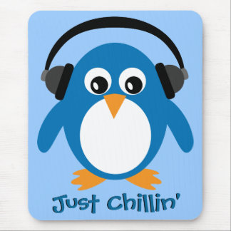 Just Chillin' Penguin With Headphones Mouse Pads