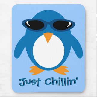 Just Chillin' Penguin With Sunglasses Mousepad