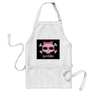Just Chillin Pink Cartoon Skull With Sunglasses Aprons