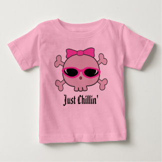 Just Chillin' Pink Cartoon Skull With Sunglasses Baby T-Shirt