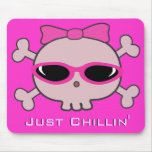 Just Chillin' Pink Cartoon Skull With Sunglasses Mouse Pad