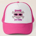 Just Chillin' Pink Cartoon Skull With Sunglasses Trucker Hat