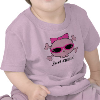 Just Chillin' Pink Cartoon Skull With Sunglasses T-shirts