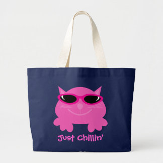 Just Chillin Pink Cat With Sunglasses Tote Bag