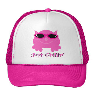 Just Chillin' Pink Cat With Sunglasses Trucker Hat