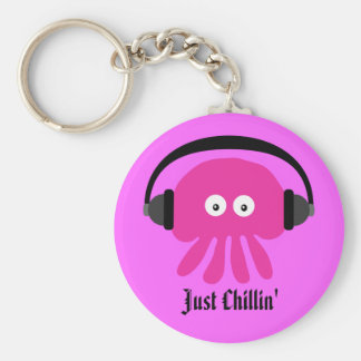 Just Chillin' Pink Jellyfish With Headphones Keychain