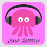 Just Chillin' Pink Jellyfish With Headphones Square Stickers