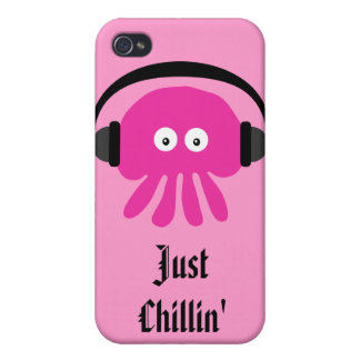 Just Chillin Pink Jellyfish With Heads Cases For iPhone 4