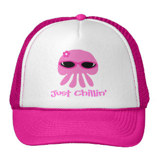 Just Chillin' Pink Jellyfish With Sunglasses Trucker Hat