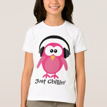 Beach Themed Just Chillin' Pink Owl With Headphones T-Shirt