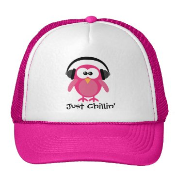 Beach Themed Just Chillin' Pink Owl With Headphones Trucker Hat