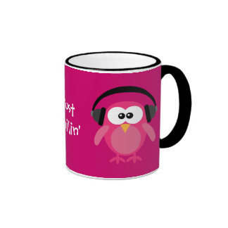 Just Chillin' Pink Owls With Headphones Ringer Coffee Mug