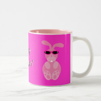 Just Chillin' Pink Rabbits With Sunglasses Two-Tone Coffee Mug