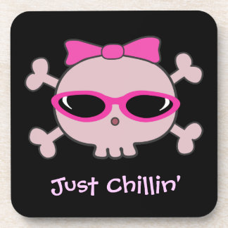 Just Chillin' Pink Skull with Sunglasses Coaster