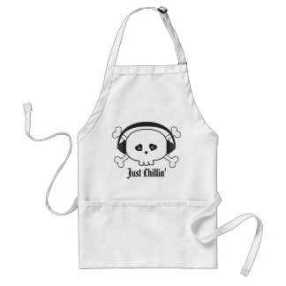 Just Chillin Skull With Headphones Apron