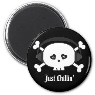 Just Chillin' Skull With Headphones Fridge Magnet