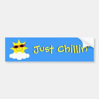 Just Chillin' Sun With Sunglasses Car Bumper Sticker