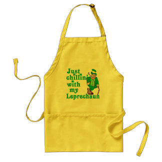 Just Chillin' With My Leprechaun Adult Apron