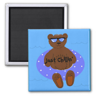 Just Chilling Bear In An Inner Tube 2 Inch Square Magnet