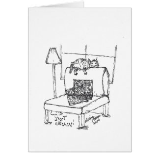 Just Chilling - Cat Straddling the Chair Greeting Card