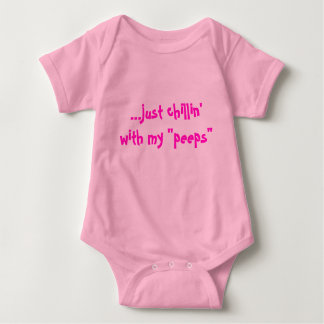 """...just chillin'with my """"peeps"""" for girls baby bodysuit"""