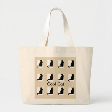 Beach Themed Just Cool Cute Jumbo Cat Graphic Tote