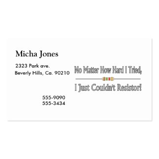 Just Couldn't Resistor Double-Sided Standard Business Cards (Pack Of 100)