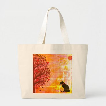 Beach Themed Just Cute Jumbo Cat Graphic Tote