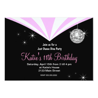 Just dance disco Diva party 5x7 Paper Invitation Card