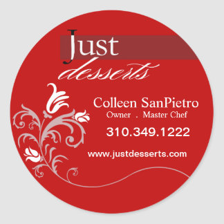 Just Desserts Cupcakes Promotional Packaging Classic Round Sticker