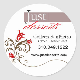 Just Desserts Cupcakes Promotional Packaging Round Sticker