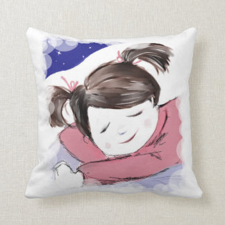 Just Dreaming-Cute Girl Sleeping Throw Pillow