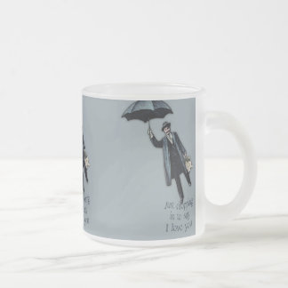Just Dropping In Valentine Frosted Glass Coffee Mug