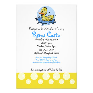 Just Ducky Yellow Duck 5x7 Baby Shower Invitation