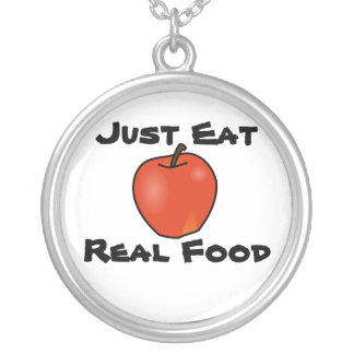 Just Eat Real Food Silver Plated Necklace