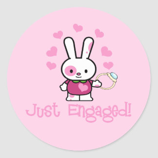 Just Engaged Cute Bunny Classic Round Sticker