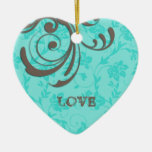 Just Engaged First Christmas Blue Heart Swirl Ceramic Ornament