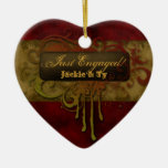 Just Engaged First Christmas Grunge Red Gold Heart Ceramic Ornament