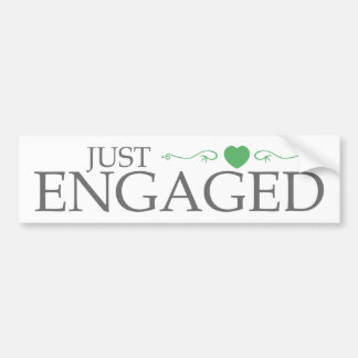 Just Engaged (Green Heart Scroll) Car Bumper Sticker