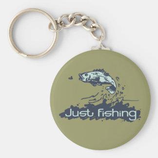 """Just fishing"" khaki green keychain"