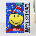 """Just for Him! Giant Smile Custom Big Birthday Card<br><div class=""""desc"""">A giant birthday card customized for a guy featuring the classic yellow happy face that everyone loves. This one shows off a 5 o&#39;clock shadow beard and bow-tie while wearing his very own birthday hat. The side says &quot;Happy Birthday&quot; in large bold face font. The front back and insides features...</div>"""