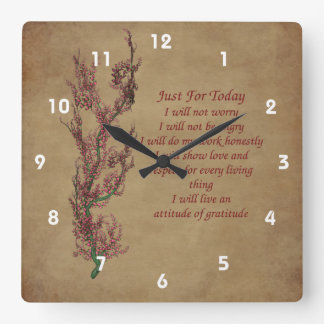 Just For Today Flowering Tree Inspirational Square Wall Clock