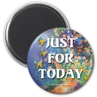 Just for Today Flowers and Rocks 2 Inch Round Magnet
