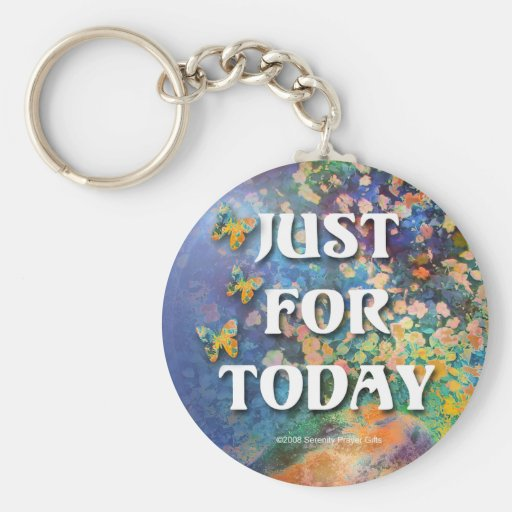 Just for Today Flowers and Rocks Basic Round Button Keychain