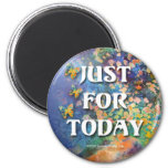 Just for Today Flowers and Rocks Refrigerator Magnet